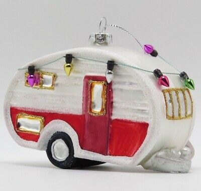 Canned Ham Camper Trailer Red White Christmas Glass Ornament 2020140833