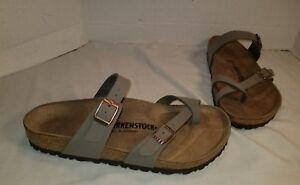 b5e77e254f76 Image is loading NEW-BIRKENSTOCK-MAYARI-STONE-BIRKIBUC-SLIDE-SANDALS-WOMEN-