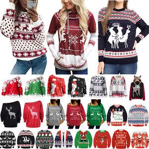 Women-Santa-Xmas-Christmas-Novelty-Retro-Sweater-Jumper-Hoodie-Sweatshirt-Blouse