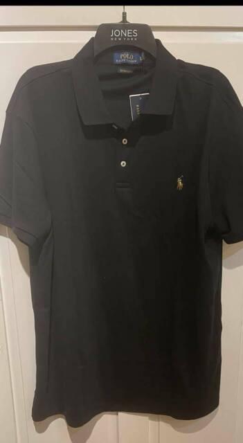Mens Ralph Lauren S/s Slim Fit Polo Shirt Black XL