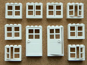 LEGO-windows-and-doors-for-house-pack-of-10-2x4x3-WHITE-BRAND-NEW