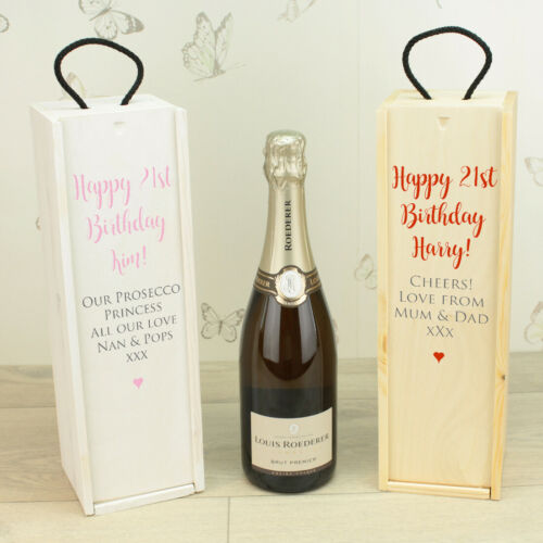Personalised 21st 30th 40th 50th 60th 70th Birthday Wine Bottle Box