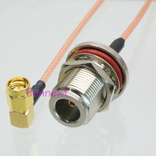 Mamparo N Hembra a SMA Macho Enchufe Ángulo Recto Crimp RG316 Cable Pigtail 15 Cm