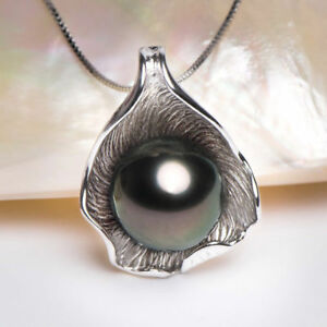 Fashion-Jewelry-925-Sterling-Silver-Black-Freshwater-Pearl-Leaf-Pendant-Necklace