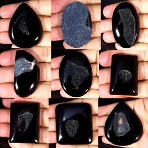 Black-Onyx-Agate-Druzy-Oval-Pear-Cushion-Cabochon-Loose-Gemstone-Collection