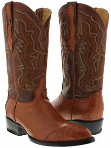 b2c76c86 mens rust cognac brown real ostrich skin leather cowboy boots wing ...