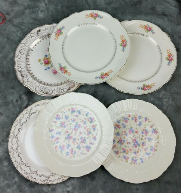 6 Vtg OLD Ivory Mismatched China Dinner Plates, Shabby Chic Wedding DPu