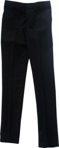 Mens Boys Black Skinny Leg Slim Fit School Trousers Bottoms Formal Work Pants UK