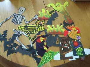 VINTAGE-WITCH-GHOST-OWL-BATS-CAT-MONSTERS-HALLOWEEN-PAPER-DECORATION-LOT