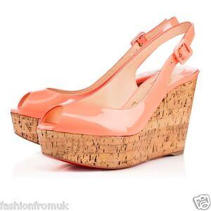 les mieux notés Super remise Conception innovante Détails sur Christian Louboutin une plume Flamingo Compensé Sandale 37.5  36.5 fonctionne petits- afficher le titre d'origine