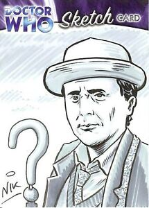 Dr-Doctor-Who-Trilogy-Sketch-Card-by-Nick-Neocleous-1-7th-Doctor