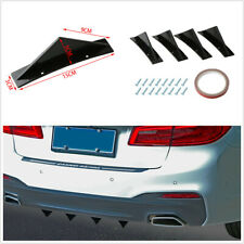 4pcs Curved Surface Triangle Mini Rear Spoiler Black Fit For Car Rear Bumper Lip Fits Saturn Aura