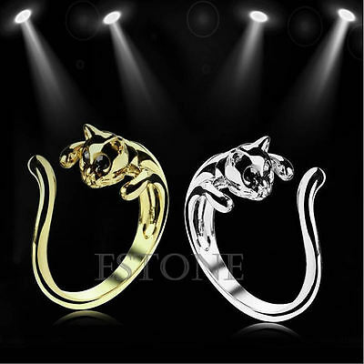 Hot Adjustable Cool Lovely Black Crystal Eyes Plated Kitten Cute Small Cat Rings