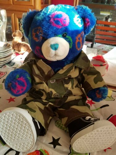 BUILD A BEAR WORKSHOP 15 INCH BLACK PEACE BEAR BABW PLUSH