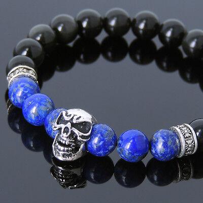 Men/'s Healing Gemstone Bracelet Black Obsidian Lapis Sterling Silver Skull 596M