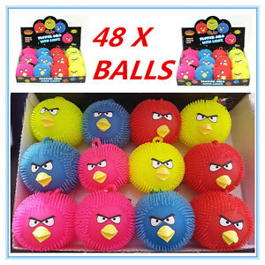 48 X COLOURFUL BIRD ANIMAL LIGHT UP PUFFER BALLS - BIRTHDAY PARTY, EVENT, GIFT A