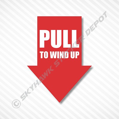 Pull To Wind Up Tow Hook Funny Bumper Sticker Vinyl Decal Muscle Car JDM Vtec