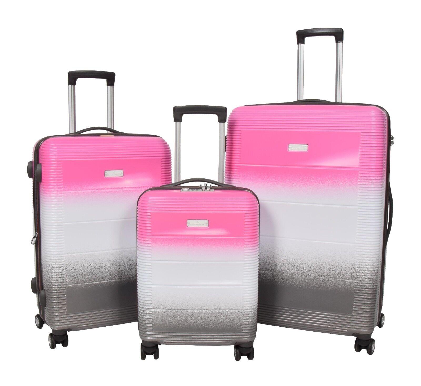 SUPER 4 Ruote Bagaglio solido Guscio Duro Multi colore VALIGIA TSA BORSA DA VIAGGIO