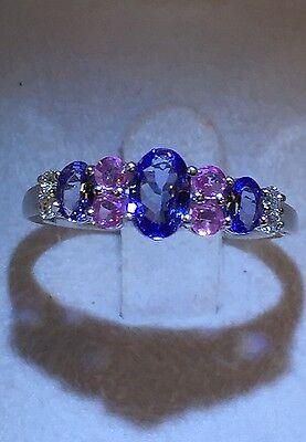 TANZANITE & PINK SAPPHIRE & DIAMOND RING 14K WHITE GOLD