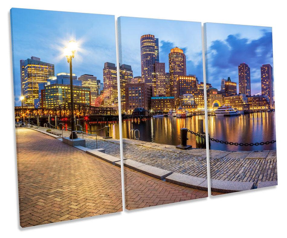 Horizonte de la ciudad de Boston lona triple pared pared triple arte cuadro enmarcado cuadro 82c697