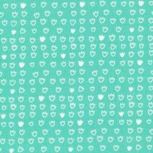 Tuerkis-Weiss-Blumen-Blueten-Punkte-Bio-Patchworkstoff-Stoff-Baumwollstoff-Cloud9
