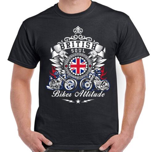 Motorcycle Bike British Soul Biker Attitude Mens Motorbike T-Shirt