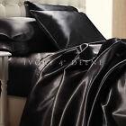 Black Satin Sheet Set QUEEN Size Soft Silk Feel Bedding Luxury 4pc Bed Linen New