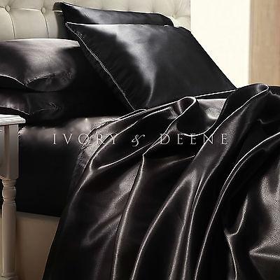 LUXURY 4pc BLACK SATIN QUEEN Size Sheet Set Soft Silk Feel Quality Hotel Bedding