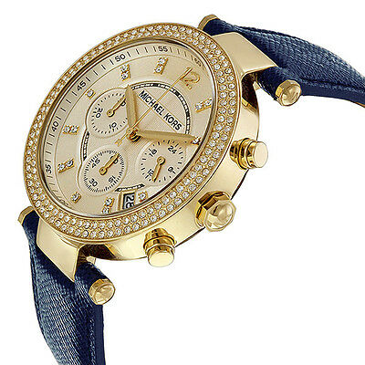 Michael-Kors-Parker-Chronograph-Gold-tone-Navy-Leather-Ladies-Watch-MK2280