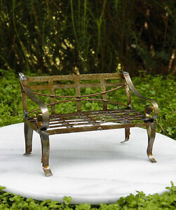 Phenomenal Details About Miniature Dollhouse Fairy Garden Furniture Rustic Antiqued Tin Bench Bralicious Painted Fabric Chair Ideas Braliciousco