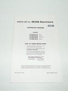 Sears Kenmore Automatic Washer Parts List 110-82673110 310 610 710 810 1986