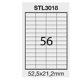 STL3018 Etichetta adesiva bianca 100fg A4 52,5x21,2mm (56et/fg) STARLINE