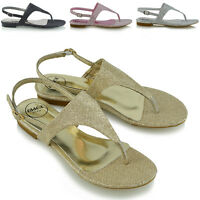 Womens Toe Post Sandals Ladies Glitter Flat SlingBack Holiday Summer Beach Shoes
