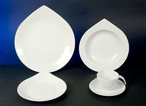 Geschirr Set Modern drop deluxe weiss 12 teilig tafel service 6 personen geschirr set