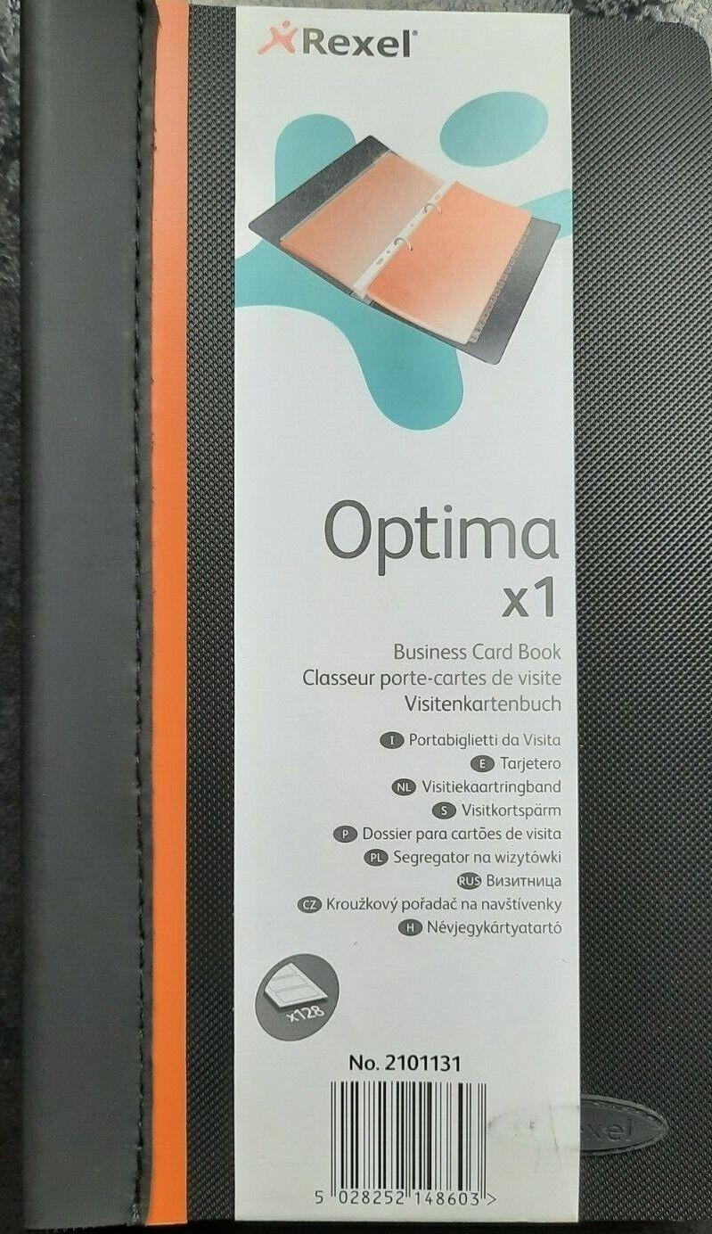 Rexel Black Optima Business Card Book 224 Pocket With 2 Ring Mechanism Inside