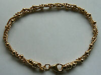 Qvc Yellow Gold Plated 7.5 Twisted Beads Chain Bracelet