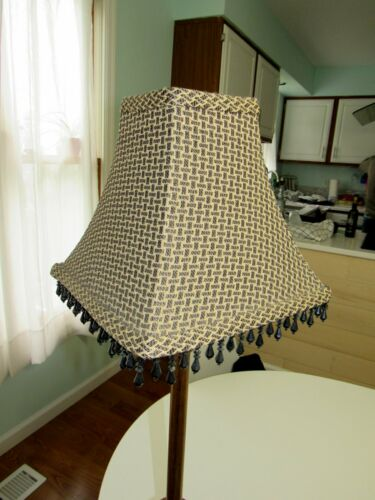 Vtg 1-2 Lamp Shade Square Fabric Bead Cream /& Black World Market Nardi//Slip Fit