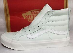 f75016296325bd Vans New Sk8 Hi Slim Zip Leather Mint Green Zephyr White Shoe Women ...
