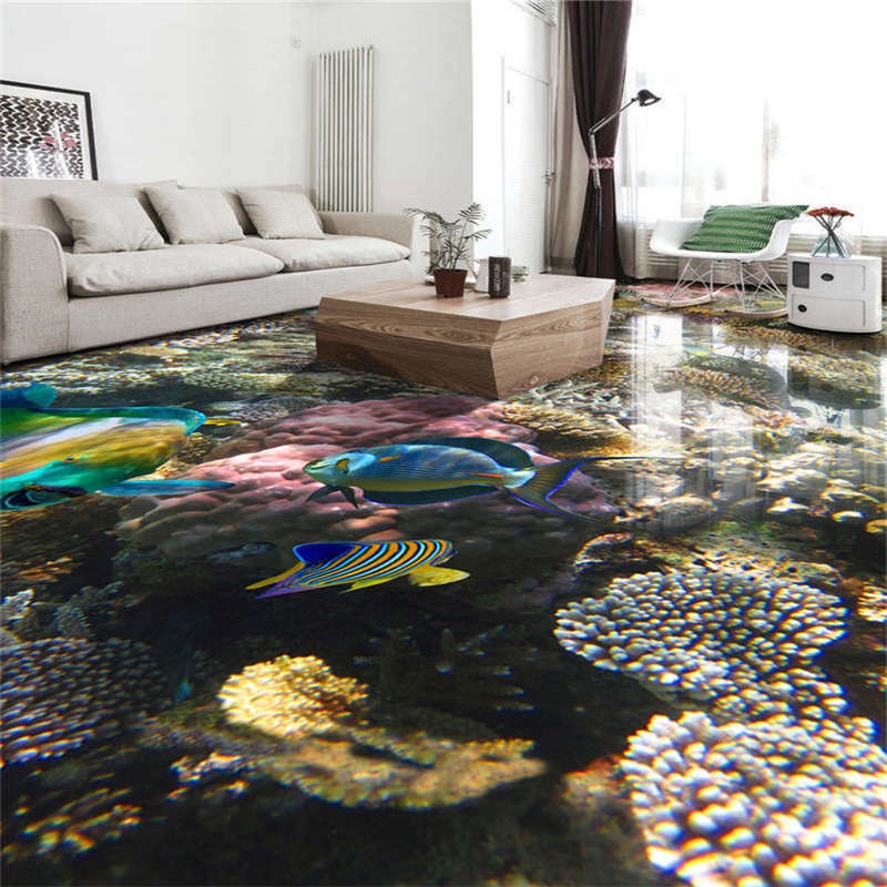 Farbeful Fish Seaweed 3D Floor Mural Photo Flooring Wallpaper Home Printing