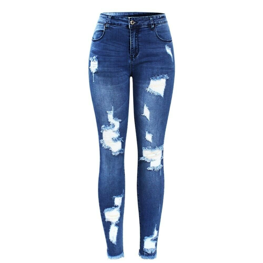 Jeans Women New bluee Tassel Ripped Denim Pants Trousers For Female Pencil Skinny