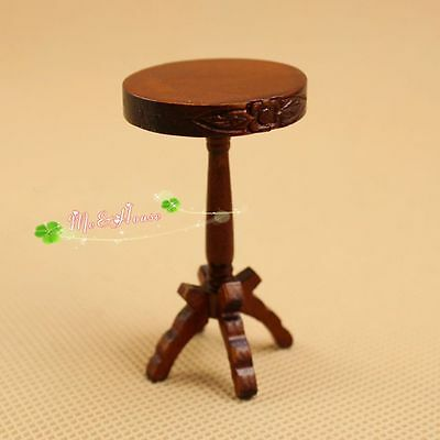 1/12 dollhouse miniature furniture wooden brown stool
