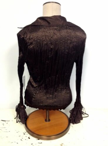 NEW NWT Zba Boutique Designer Crinkle Brown Satin Stretch Blouse $74 retail