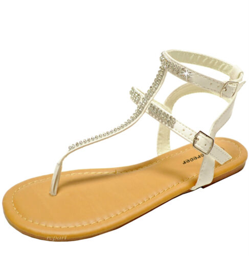 New women/'s shoes open toe t strap sandals rhinestones casual party summer white
