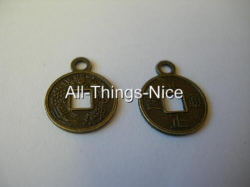 15mm Moneda de latón colgantes encantos Art Craft Moda fabricación de joyas resultados 100
