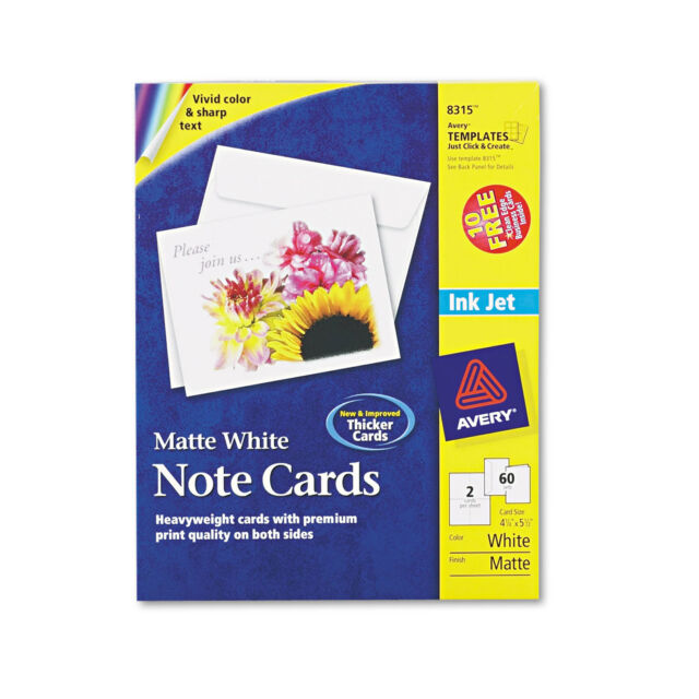avery 8315 inkjet matte white note cards with envelopes 5