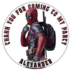 Personalised Deadpool Stickers Birthday Party Thank You Sweet Cones Bag Labels