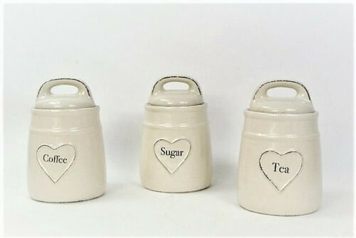 Tea Coffee Sugar Storage Canisters Cream Ceramic Heart detail Containers