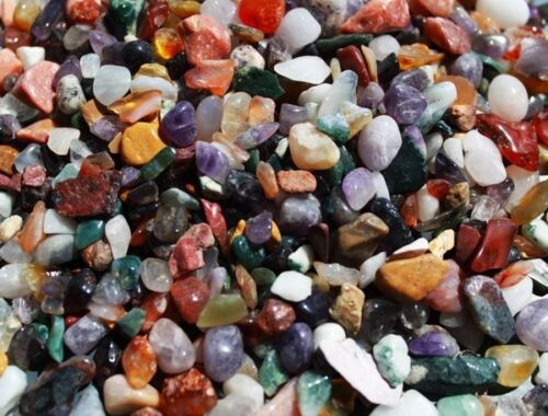 Mixed Gemstone Tumbled Chips Approx 180 Beads 1mm Hole J5400991XB 50g