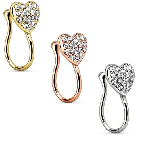 Ladies Nose Clip Nose Piercing Fake Piercing Clip with Heart and Rhinestones