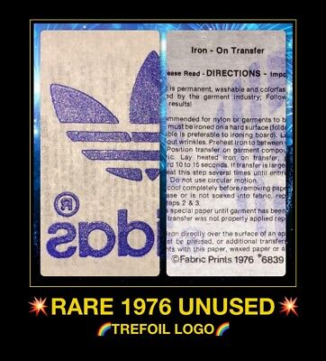 Vintage 70s Black Adidas Trefoil Logo Iron On Transfer Quaker Licensed!